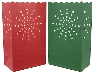 10 Red and Green Luminary Bags - Flame Resistant Paper - Christmas Holiday Event ()