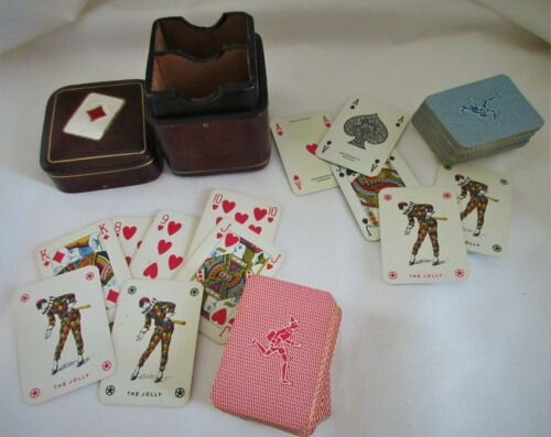 Vintage,Italy,Leather,MINIATURE,playing cards & case,MASENGHINI BERGAMO,complete