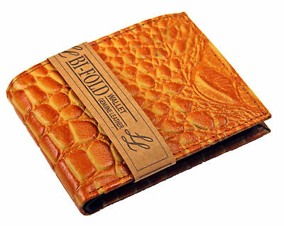 TAN LEATHER Crocodile Croc Print MENS BIFOLD WALLET FLAP TOP CARD HOLDER SALE