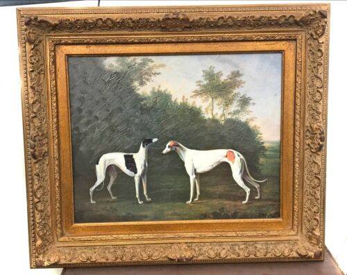 Pair Of Greyhounds Art Print Ornately Framed Greyhound Fine Art Collectible
