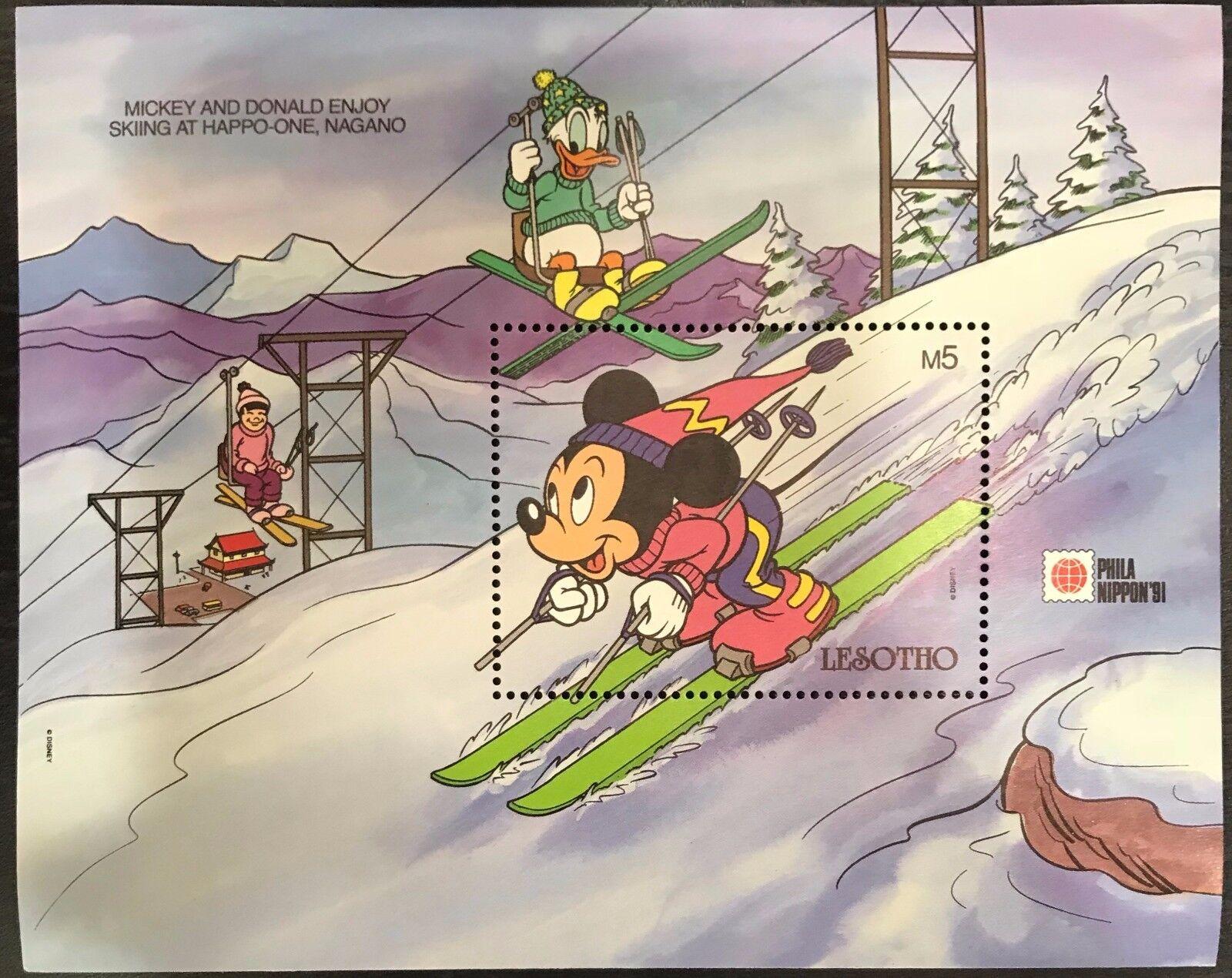 Lesotho- Disney Mickey & Donald Skiing Stamp- Souvenir Sheet