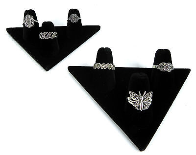 Two 3-finger Ring Display Black Velvet Jewelry Showcase Rings