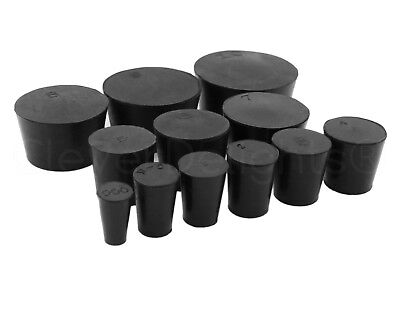 Solid Rubber Stoppers - Size 000 To 14 - Pick Size And Qty - Black Lab Plug Bung