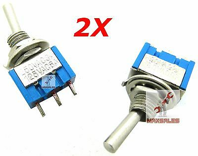 Qty-2 Mini Toggle Switch Spdt 3-pin Spdt On-on 6a 125vac