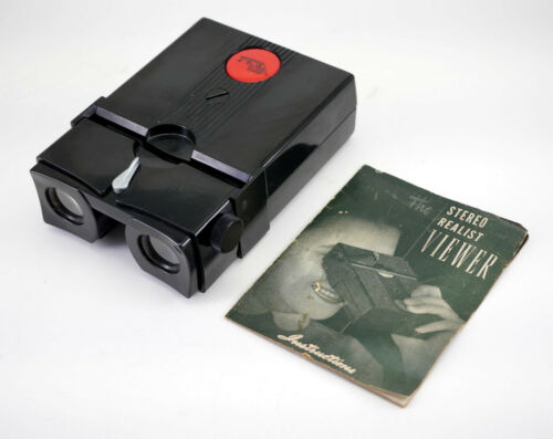 EARLY RARE Stereo Realist red button viewer - Serviced by DrT - JJ