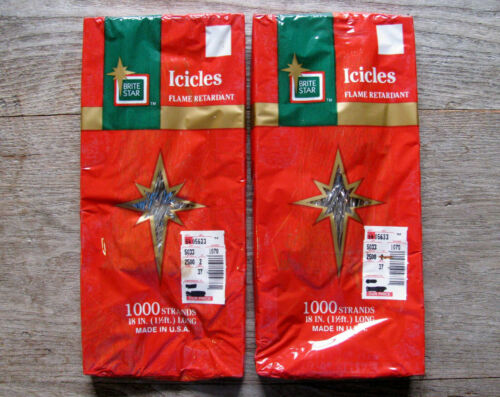2 Vintage Brite Star Tinsel Icicles 2000 Strands of fun Christmas Tree - NOS