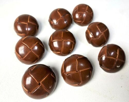 """9 Vintage Brown Buttons Buffed Basket Weave Design - Large Size 1940s   1"""" Inch"""