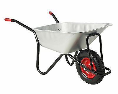 Wheelbarrow Garden Wheel Barrow Large, Galvanised, Pneumatic Tyre 100L