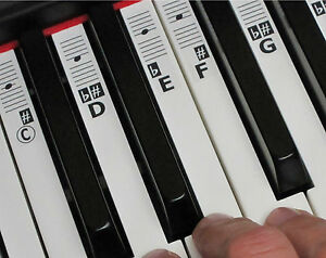 piano keyboard music note stickers labels full piano 52 labels lessons ebay. Black Bedroom Furniture Sets. Home Design Ideas