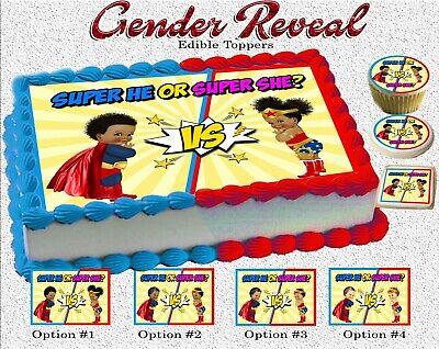 Superheroes gender reveal Cake topper Edible paper sugar sheet cupcakes girl boy - Superhero Girl Cake