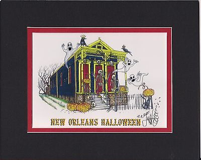 NEW ORLEANS HALLOWEEN Jamie Hayes MATTED, 8X10, SIGNED GICLEE, GHOST, SKELETON - New Orleans Halloween