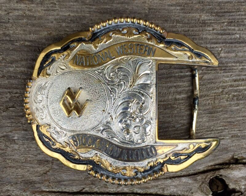 Vintage National Western Stock Show Rodeo Belt Buckle Cowboys
