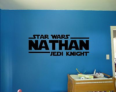 Star Wars Jedi Knight Personalized Custom Name Quote Vinyl Wall Decal Sticker  (Personalized Star Wars)