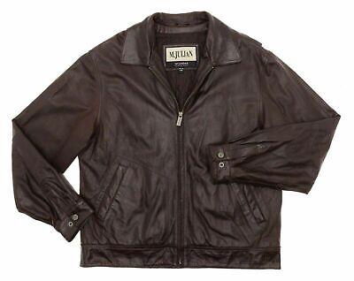 WILSONS LEATHER Jacket L Large Mens Biker Motorcycle HALSEY Dark Brown Moto Coat
