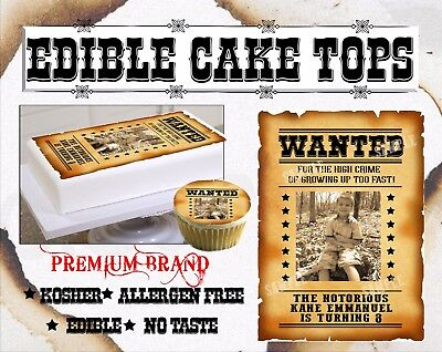 Wanted Sign Birthday Cake topper Edible paper sugar sheet cowboys poster party - Cowboy Birthday Cake