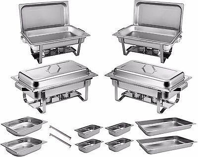 4x Chafing Dish Speisewärmer Warmhaltebehälter Edelstahl Buffet-Set Rechaud