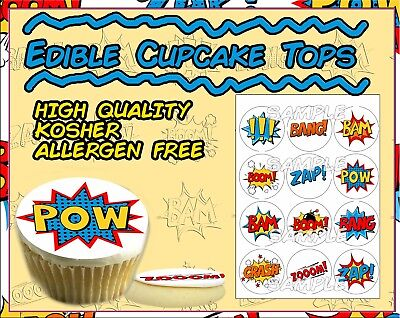 Comic Book cupcake toppers Superhero words Edible image sugar actions picture ](Halloween Cup Cakes)