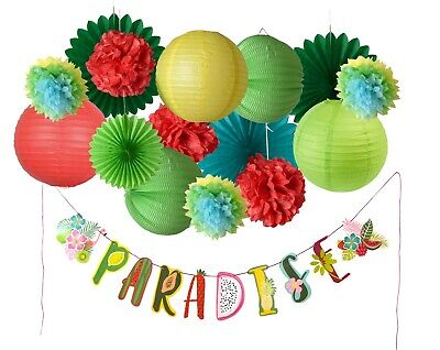 PAPER JAZZ Paradise Banner kit for Summer Hawaiian Tropical Fruit Theme Party