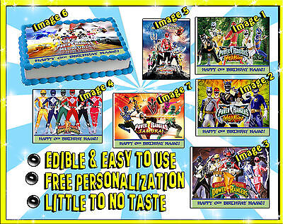 Power rangers cake toppers Edible image sugar decal birthday picture sheet paper