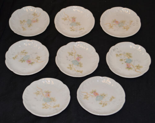 8 Carlsbad Austria China - Butter Pats - Pastel Pink & Blue Flowers - Car 13