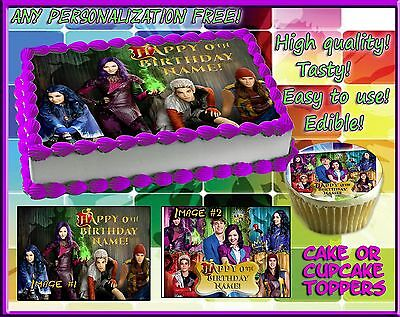 Cupcake Birthday Cakes (Disney Descendants Birthday Cake topper Edible sugar cupcakes picture sheet)