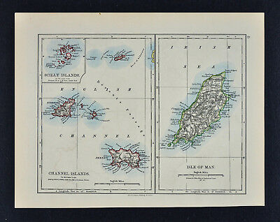 1895 Johnston Map Isle of Man Channel Islands Jersey Guernsey Scilly England UK image
