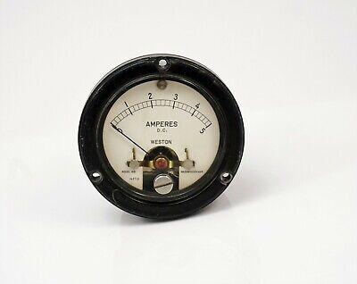 Weston 0-5 Dc Ampere Round Panel Meter Model 1521 Steam Punk Free Shipping