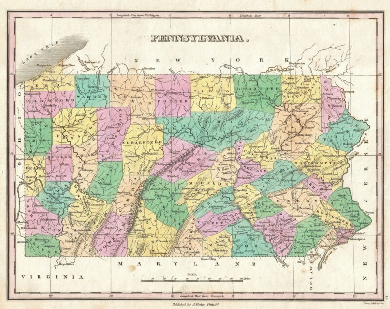 1827 Finley Map of Pennsylvania
