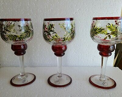 "Set of 3 Yankee Candle Berry ""Balsam"" Crackle Stem Wine Glass Holders Red Trim"