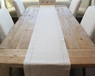"Natural Linen Hemstitched Table Runner - 16"" x 108"" - 100% Pure Linen"