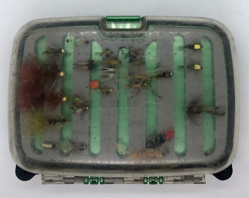 Vintage Fly Fishing Scientific Anglers Fly Box & Large Selection Of Flies Lures