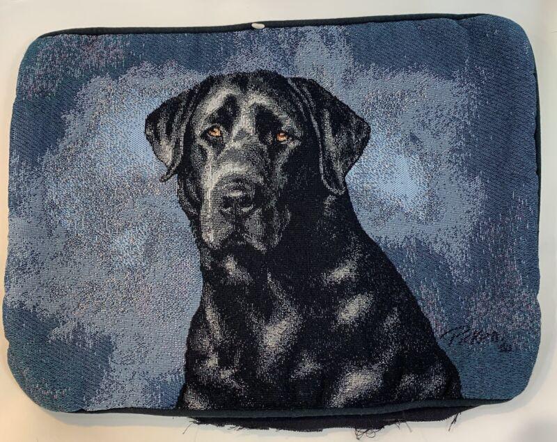 "Labrador Retriever Black Dog Tapestry LINDA PICKEN MADE IN USA Open Back 17""x12"""
