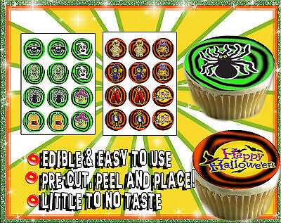 12 Halloween cupcake toppers Edible image sugar decal picture party sheet paper ](Halloween Cup Cakes)