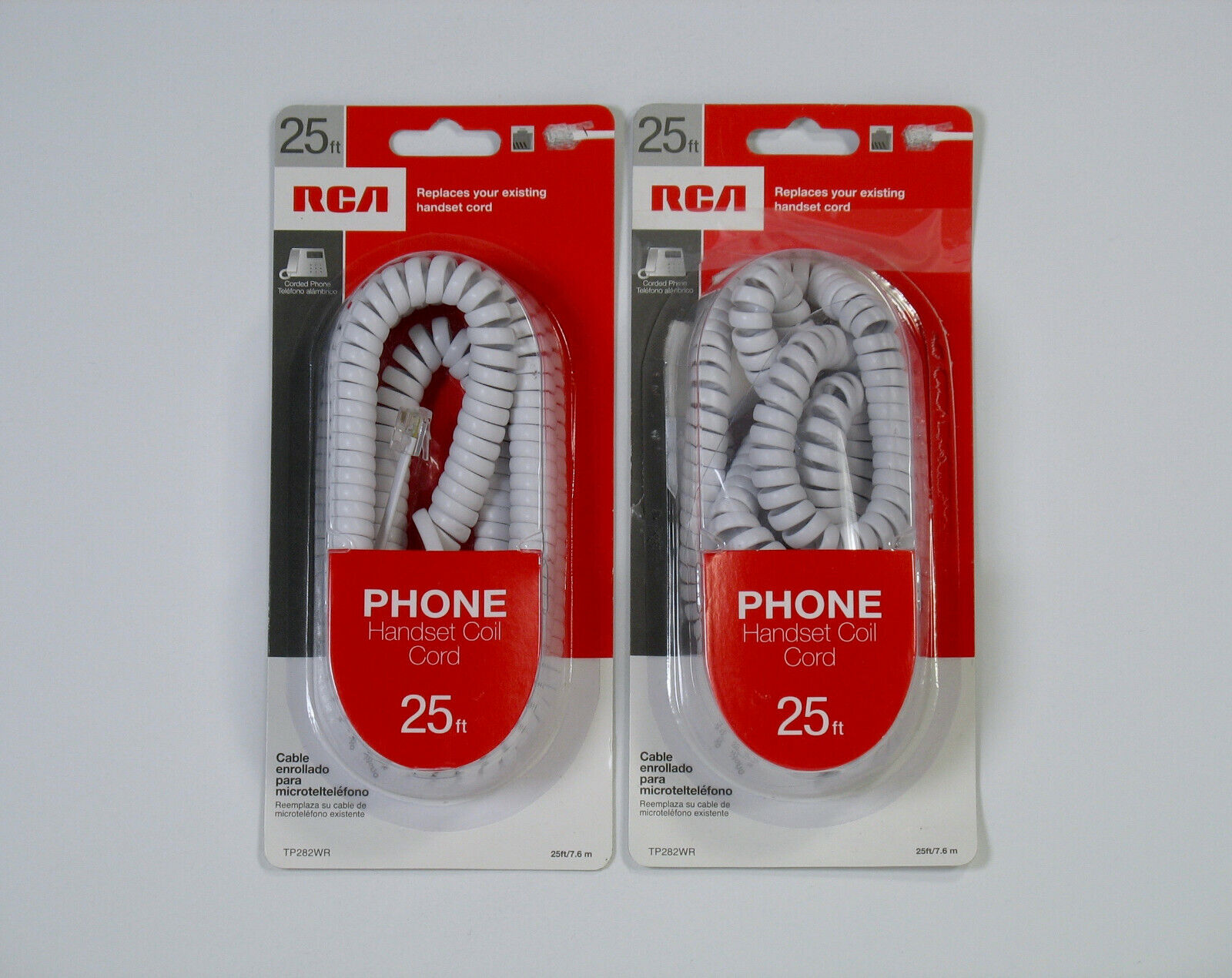 RCA 25 ft Phone Coil Cords Lot of 2 Handset cable landline W