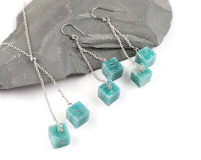 Handmade Amazonite Natural Gemstone Crystals Women Silver Jewellry Necklace Set