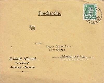 ARZBERG, Briefumschlag 1928, Erhardt Künzel Nagel-Fabrik