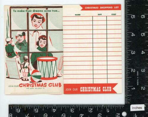 Vintage Christmas card / shopping list advertising booklet -1950