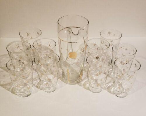10 ATOMIC STARBURST HIGHBALL TEA WATER DRINK GLASSES SPUTNIC PITCHER 50 S 60 S - $68.75