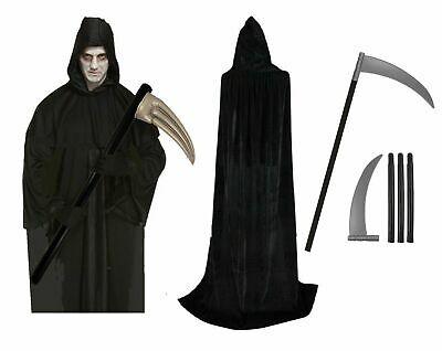 DARKNESS DEATH COSTUME Adult Horror Black Robe Faceless Halloween  Outfit UK ()
