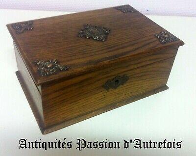 B201981 - Très beau coffret boite à bijoux en chêne avec compartiment intérieur