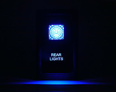 Dual LED Backlit Laser Etched REAR LIGHTS Rocker Switch - With Mounting Panel