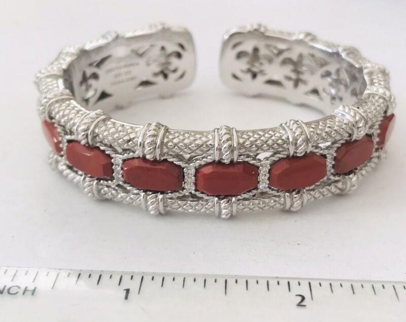 Large Judith Ripka Sterling Silver Red Jasper CZ Cuff Bracelet