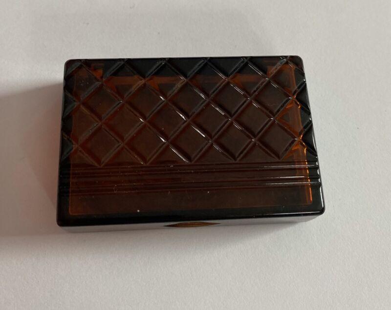 Avon Tortoise Tone Plastic Stamp Holder/Pill Box - 2 x 1 1/2 x 1/2 size - 1983