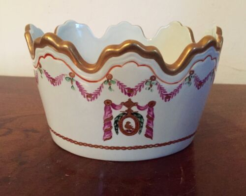 Vintage Porcelain Cachepot Monteith Vase Planter Chinese Export Armorial Style 1