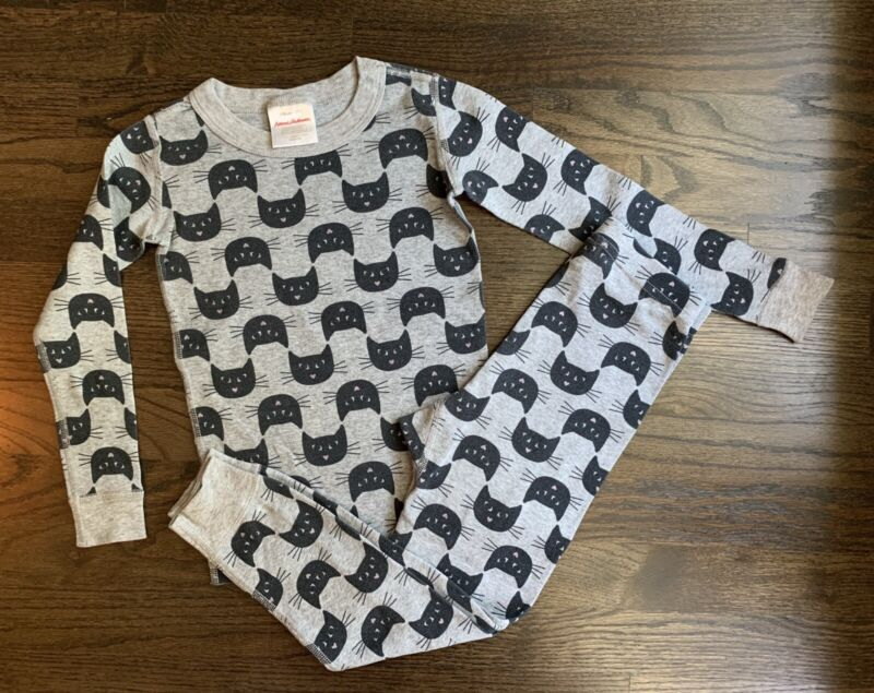 Hanna Andersson Size 110 (size5) Halloween Black Cats Longjohn Pajamas