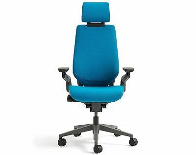 New Steelcase Gesture Chair With Adjustable Headrest Wrap Black Frame Blue Jay
