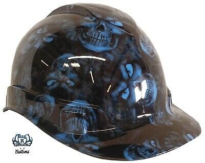 Hydro Dipped Hard Hat High Gloss Light Blue Hades Skulls 6 Point Harness
