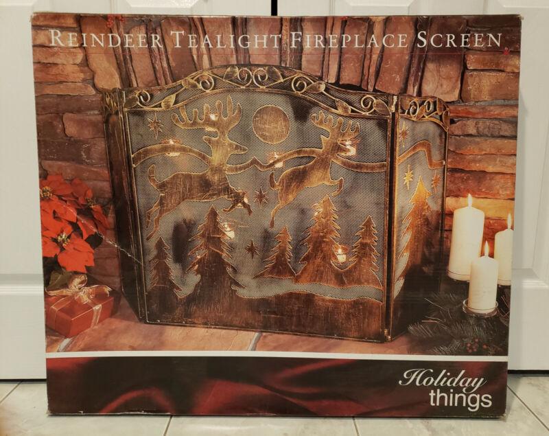 3 Panel Wrought Iron Woodland Reindeer Pine Tree 9 Tealight Fireplace Screen