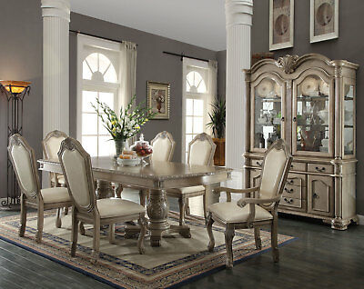 Old World Antique White 7pcs Dining Room Set NEW Rectangular Table & Chairs IACA ()