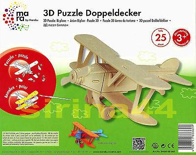 "3D-Puzzle Holzbausatz Flugzeug ""Doppeldecker"" von Marabu 22x 19x 10cm ab 3J. FSC"